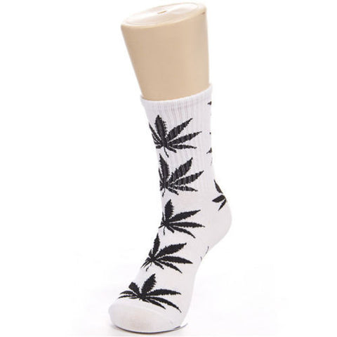 Weed Leaf Socks White/Black