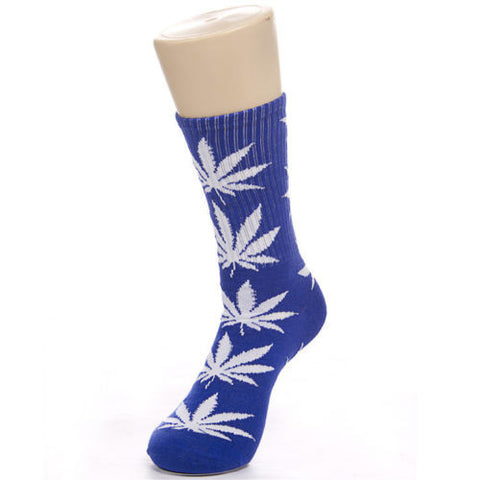 Weed Leaf Socks Blue White