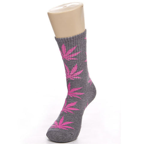 Weed Leaf Socks Gray Rose Pink