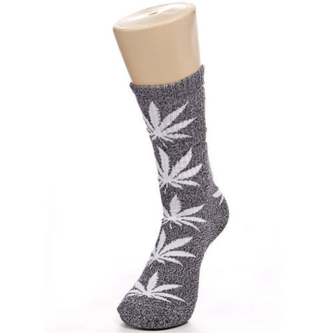 Weed Leaf Socks Gray White