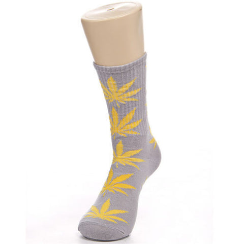 Weed Leaf Socks Gray Yellow