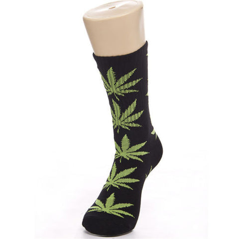 Weed Leaf Socks Green Black