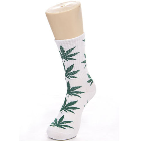 Weed Leaf Socks White Green