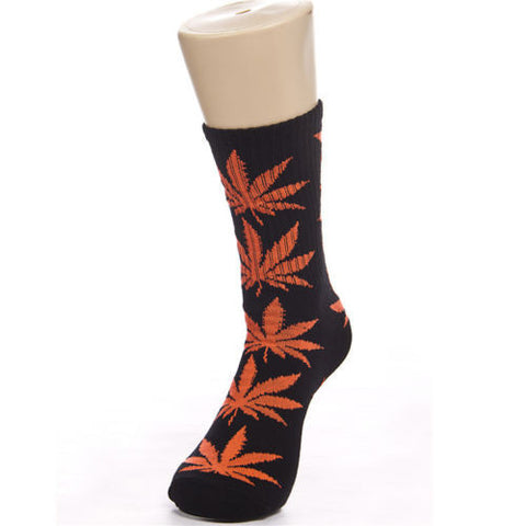 Weed Leaf Socks Black Orange