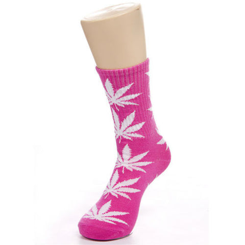 Weed Leaf Socks Pink White