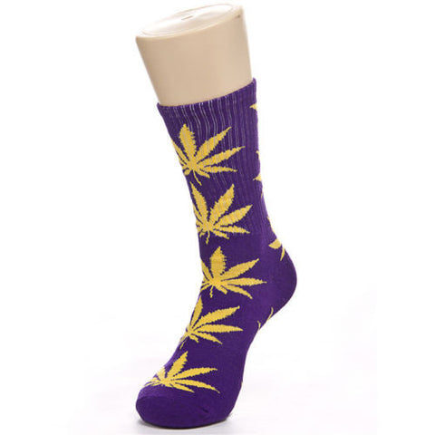 Weed Leaf Socks Purple Yellow