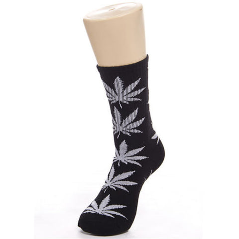 Weed Leaf Socks Black White