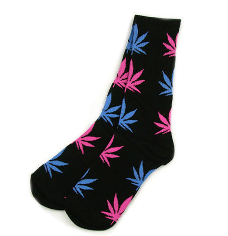 Weed Leaf Socks Black Blue Pink