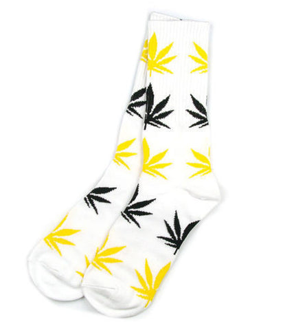 Weed Leaf Socks White Black Yellow