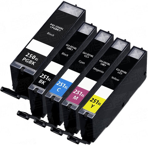 Compatible CANON PGI-250XL / CLI-251XL 5pcs INK / INKJET Cartridge Combo