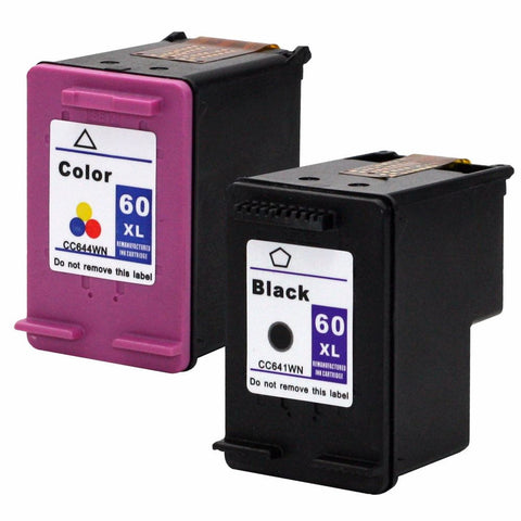 Refurbished HP 60XL Set High Yield INK Cartridge Black & Color