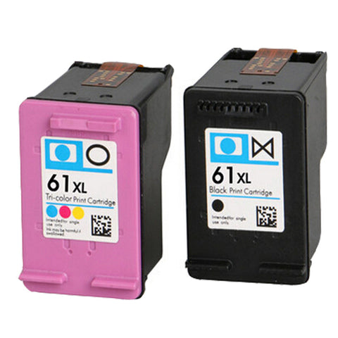 Remanufactured HP 61XL Set Black Tri-Color High Yield INK Cartridge