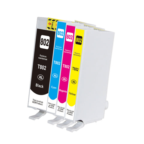 Compatible EPSON T802XL 4pcs INK / INKJET Cartridge Set BK/C/M/Y