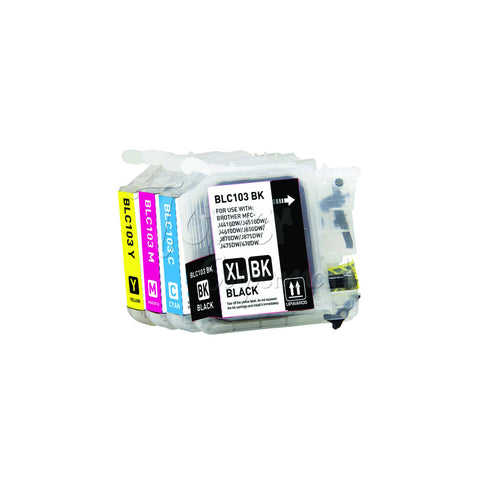Compatible BROTHER LC103 High Yield INK / INKJET Cartridge Set BK/C/M/Y