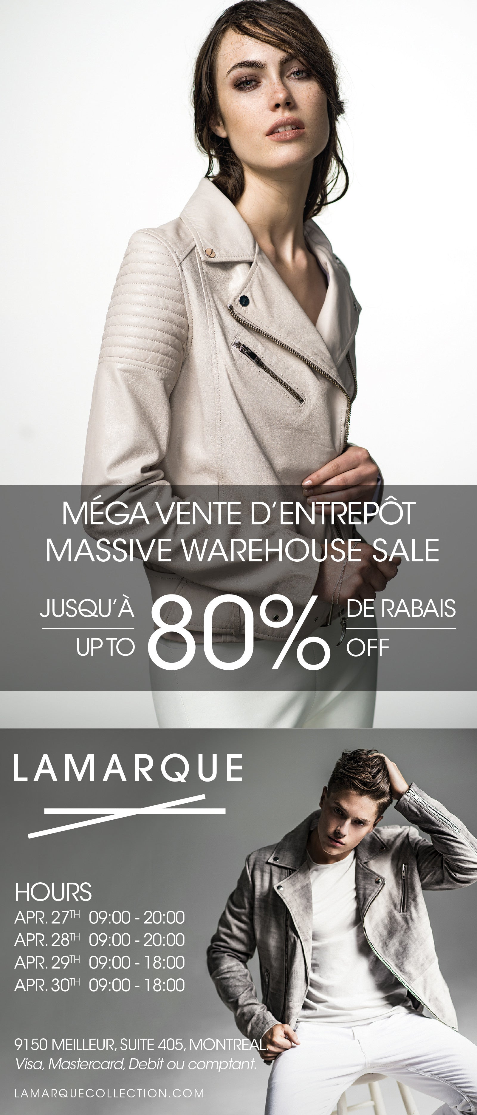 warehouse sale 9150 rue meilleur LAMARQUE leather jackets skirts pants mens womens all sizes
