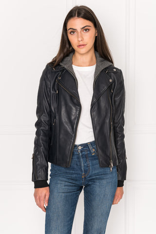 JAMIE Leather Biker Jacket With Removable Hood