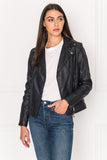 JAMIE Asphalte Leather Biker Jacket With Removable Hood