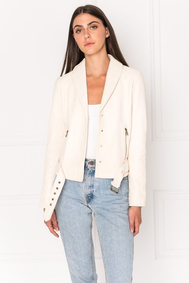 MEGAN Cream Shawl Collar Leather Biker Jacket