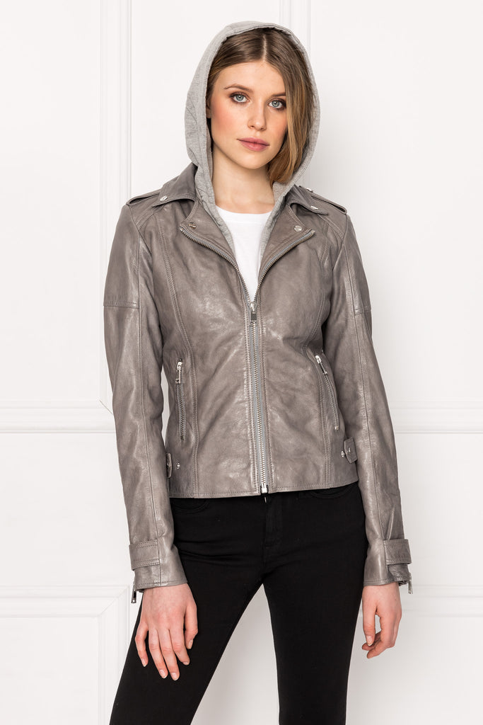 ANNA Whale Grey Convertible Leather Biker Jacket