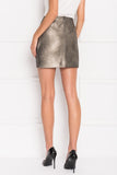 ARICIA Distressed Silver Rushed Skirt