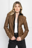 ARLETTE Brown Leather Biker Jacket