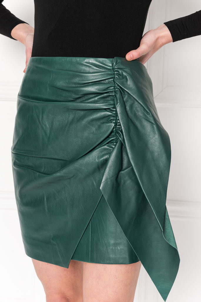AULIS Green Leather Ruffle Skirt