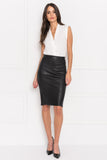 AVANA Black Leather Pencil Skirt