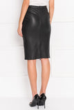 AVANA Black Stretch Leather Pencil Skirt