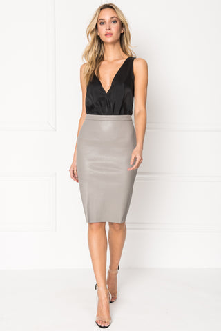 AVANA Grey Stretch Leather Pencil Skirt