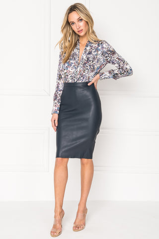 AVANA Navy Stretch Leather Pencil Skirt