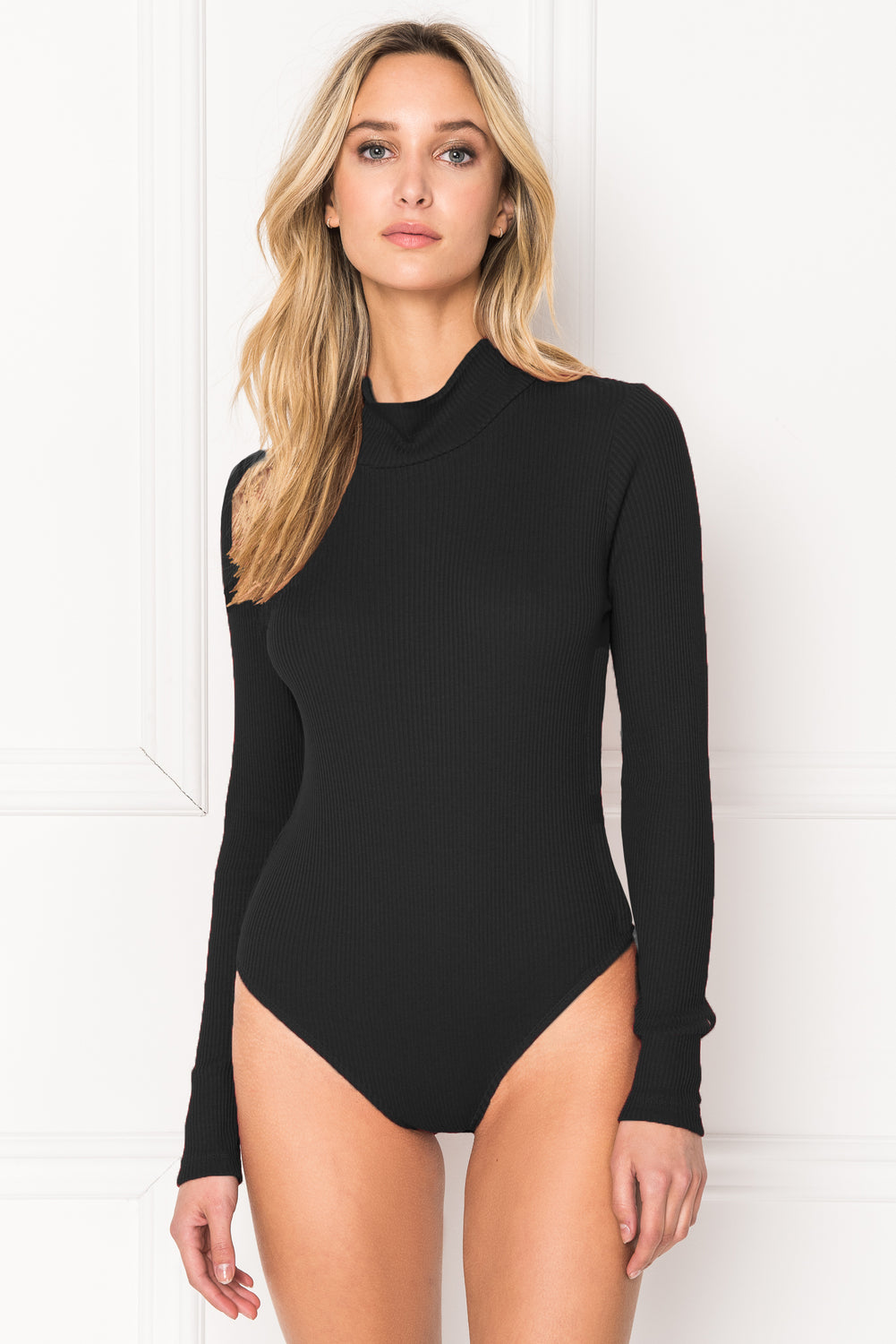 AZANIA Black Mock Neck Bodysuit