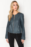 BLUMA Navy Lightweight Leather Blouson Jacket