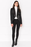 BRENDA Black Cascade Collar Stripped Leather Jacket