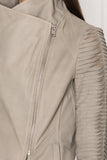 BRENDA Taupe Cascade Collar Stripped Leather Jacket