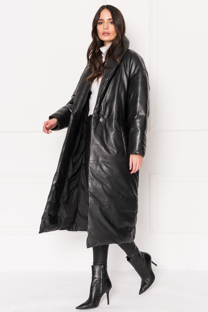 CATALINA Oversized Leather Blanket Coat