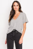 CECILIA Grey Deep V-neck Tee