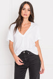 CECILIA White Deep V-neck Tee