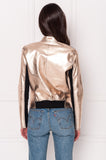 CHAPIN Black & Rose Gold Reversible Leather Bomber