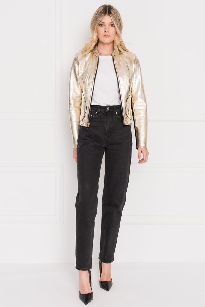 CHAPIN Black & Gold Reversible Leather Bomber