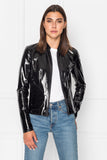 CHAPIN Black Patent Reversible Leather Bomber