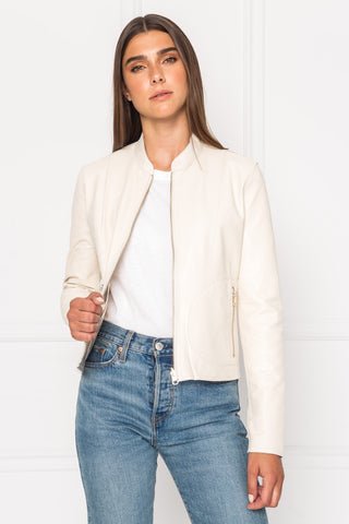 CHAPIN Cream & Gold Reversible Leather Bomber