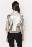 CHAPIN Taupe Reversible Leather Bomber