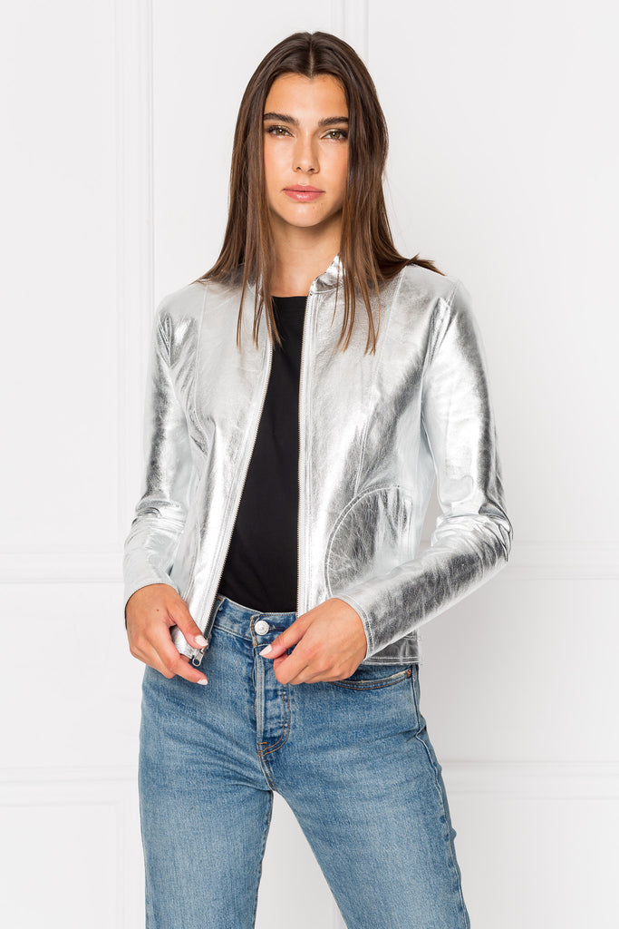CHAPIN White & Silver Reversible Leather Bomber
