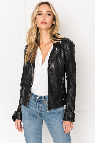 CHLOE Black Washed Leather Biker Jacket