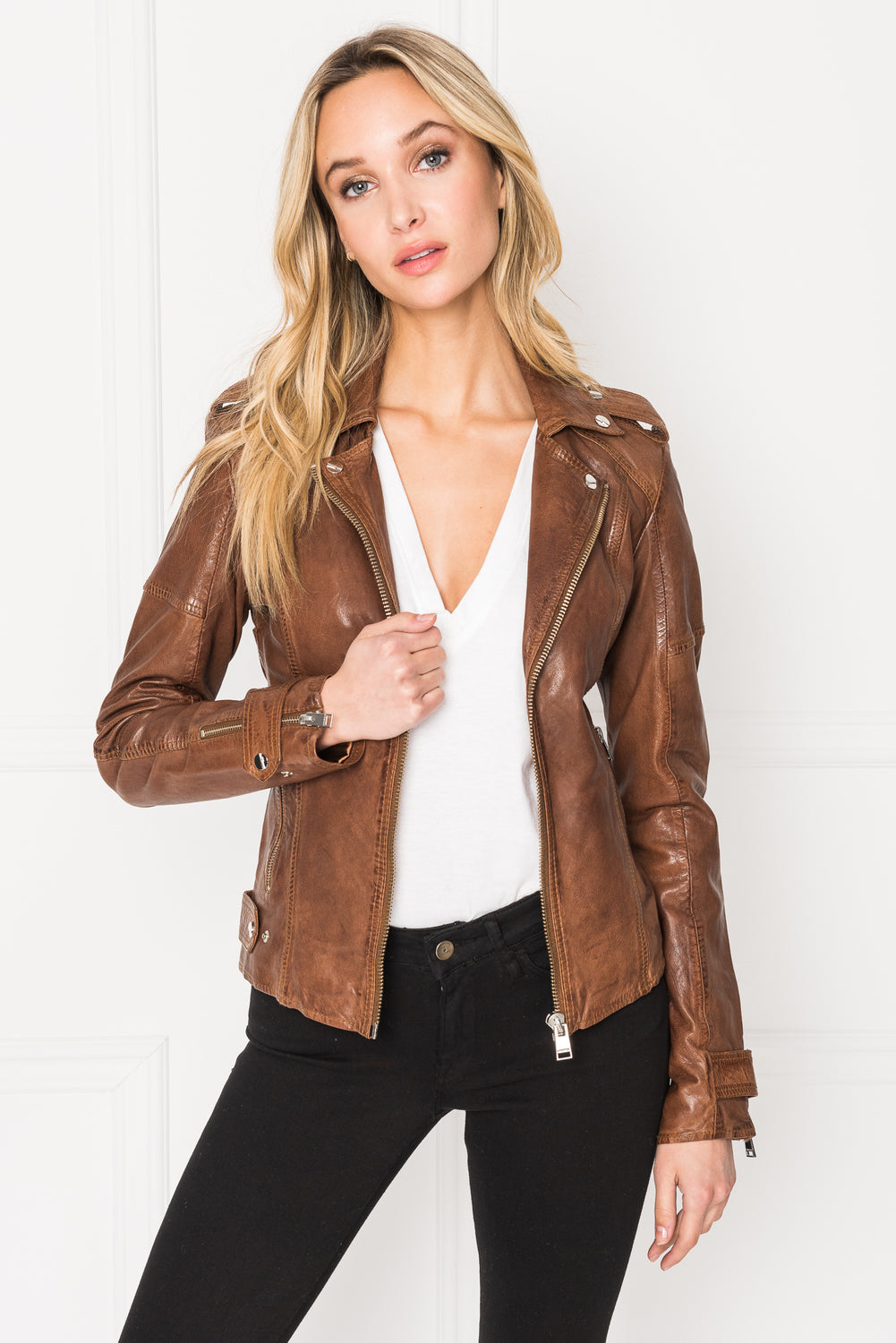 CHLOE Luggage Washed Leather Biker Jacket