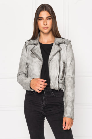 CIARA Washed Leather Crop Biker Jacket