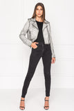 CIARA Distressed Grey Leather Crop Biker Jacket