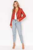 CIARA Grenadine Washed Leather Crop Biker Jacket