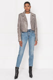 CIARA Whale Grey Washed Leather Crop Biker Jacket