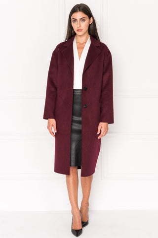 COPPOLA Burgundy Oversized Cocoon Wool Coat
